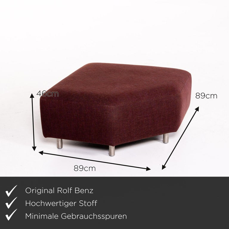 Modern Rolf Benz 546 Fabric Corner Sofa Incl. Stool Dark Red Red Sofa Couch For Sale