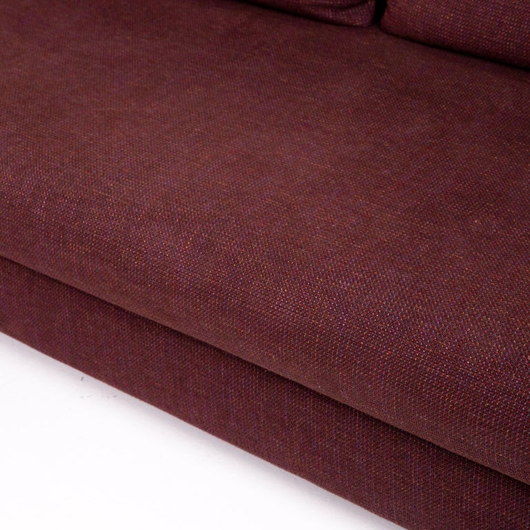 German Rolf Benz 546 Fabric Corner Sofa Incl. Stool Dark Red Red Sofa Couch For Sale