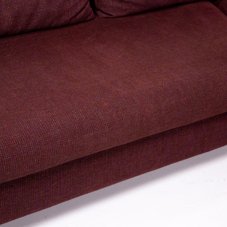 Rolf Benz 546 Fabric Corner Sofa Incl. Stool Dark Red Red Sofa Couch In Good Condition For Sale In Cologne, DE