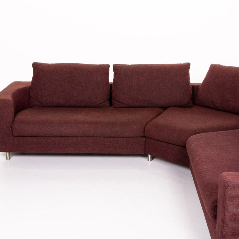 Rolf Benz 546 Fabric Corner Sofa Incl. Stool Dark Red Red Sofa Couch For Sale 3