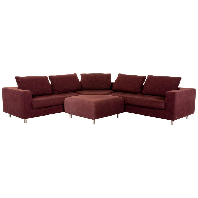 Rolf Benz 546 Fabric Corner Sofa Incl. Stool Dark Red Red Sofa Couch For Sale