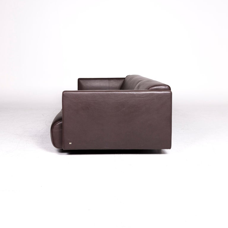 Rolf Benz 6300 Designer Leather Sofa Brown Three-Seat Couch For Sale 4