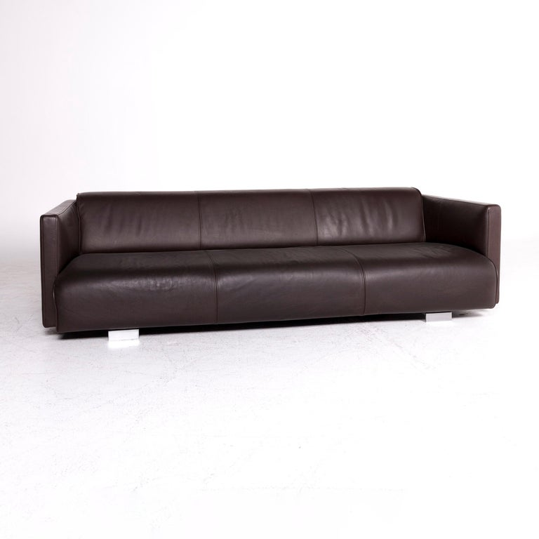 Modern Rolf Benz 6300 Designer Leather Sofa Brown Three-Seat Couch For Sale