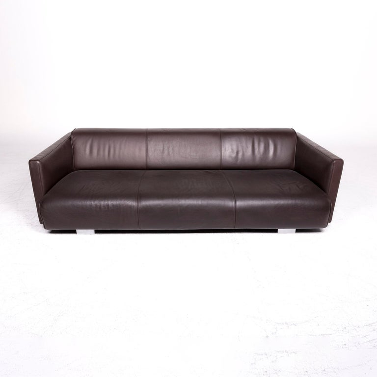 Rolf Benz 6300 Designer Leather Sofa Brown Three-Seat Couch For Sale 1