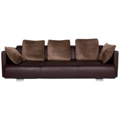 Rolf Benz 6300 Leather Sofa Brown Dark Brown Incl. Cushion Three-Seat Couch