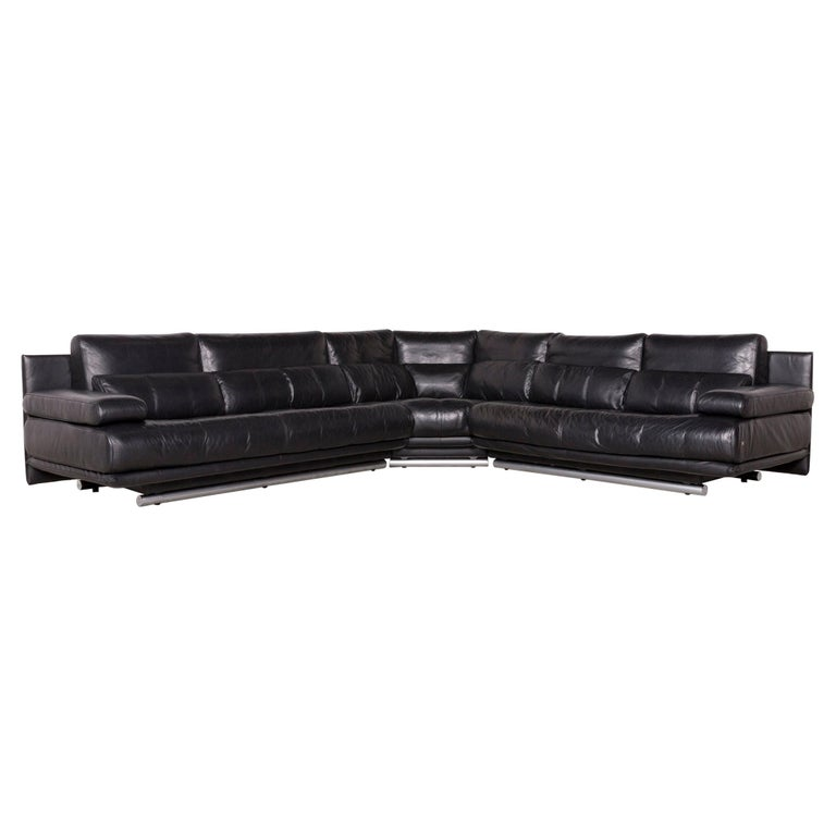 Rolf Benz 6500 Designer Leather Sofa Black Corner Sofa Genuine Leather Couch