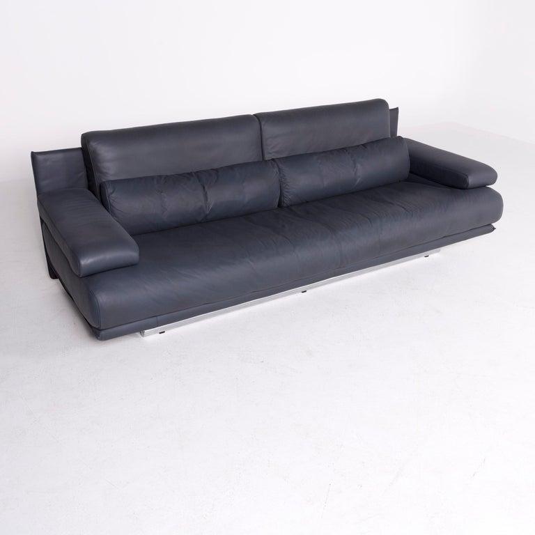 Rolf Benz 322 Design Bank.Rolf Benz 6500 Designer Leather Sofa Blue Genuine Leather Three
