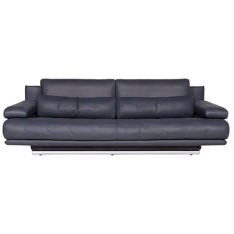 Rolf Benz 6500 Designer Leather Sofa Blue Genuine Leather Three-Seat Couch
