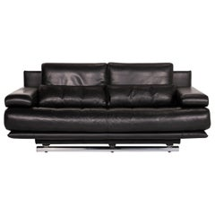 Rolf Benz 6500 Leather Sofa Black Three-Seat Function Couch