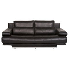 Rolf Benz 6500 Leather Sofa Black Two-Seat Function Couch