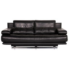 Rolf Benz 6500 Leather Sofa Black Two-Seater Function