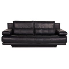 Rolf Benz 6500 Leather Sofa Dark Blue Two-Seater Function