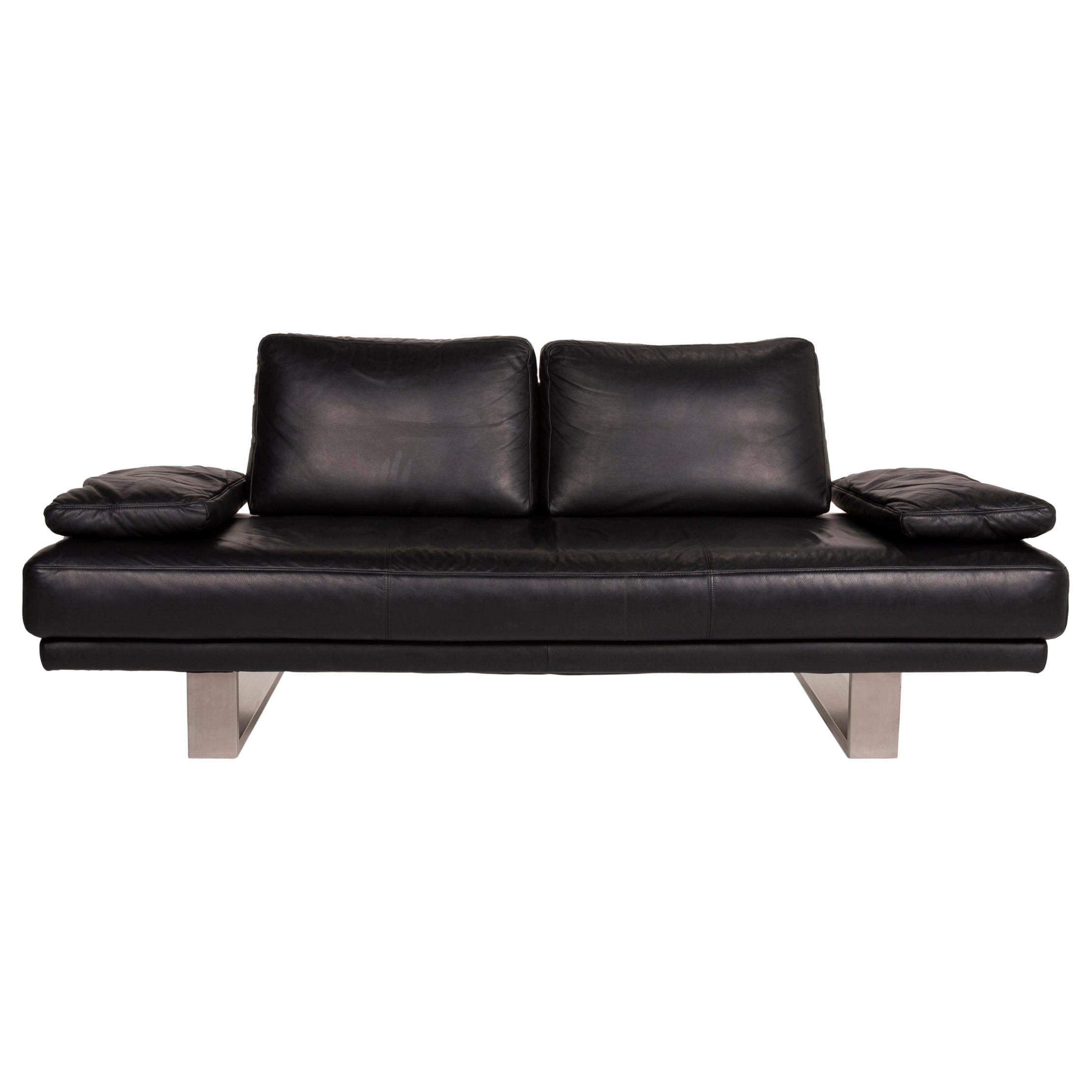 Rolf Benz 6600 Leather Sofa Black Two-Seater