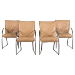 Rolf Benz 7600 Leather Chair Set Beige 4 Armchair