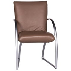 Rolf Benz 7600 Leather Chrome Armchair Brown Chair
