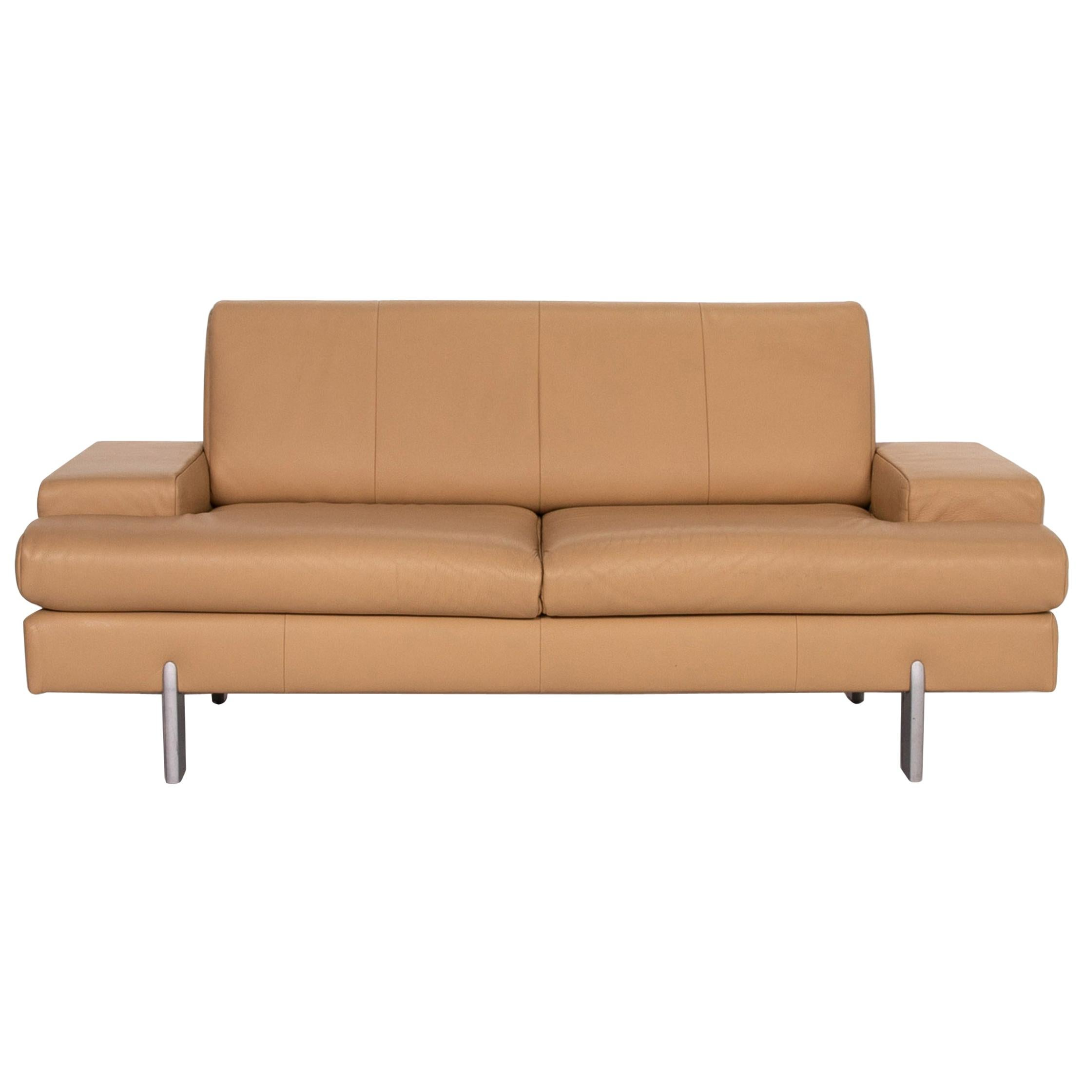Rolf Benz AK 644 Leather Sofa Beige Two-Seat Couch