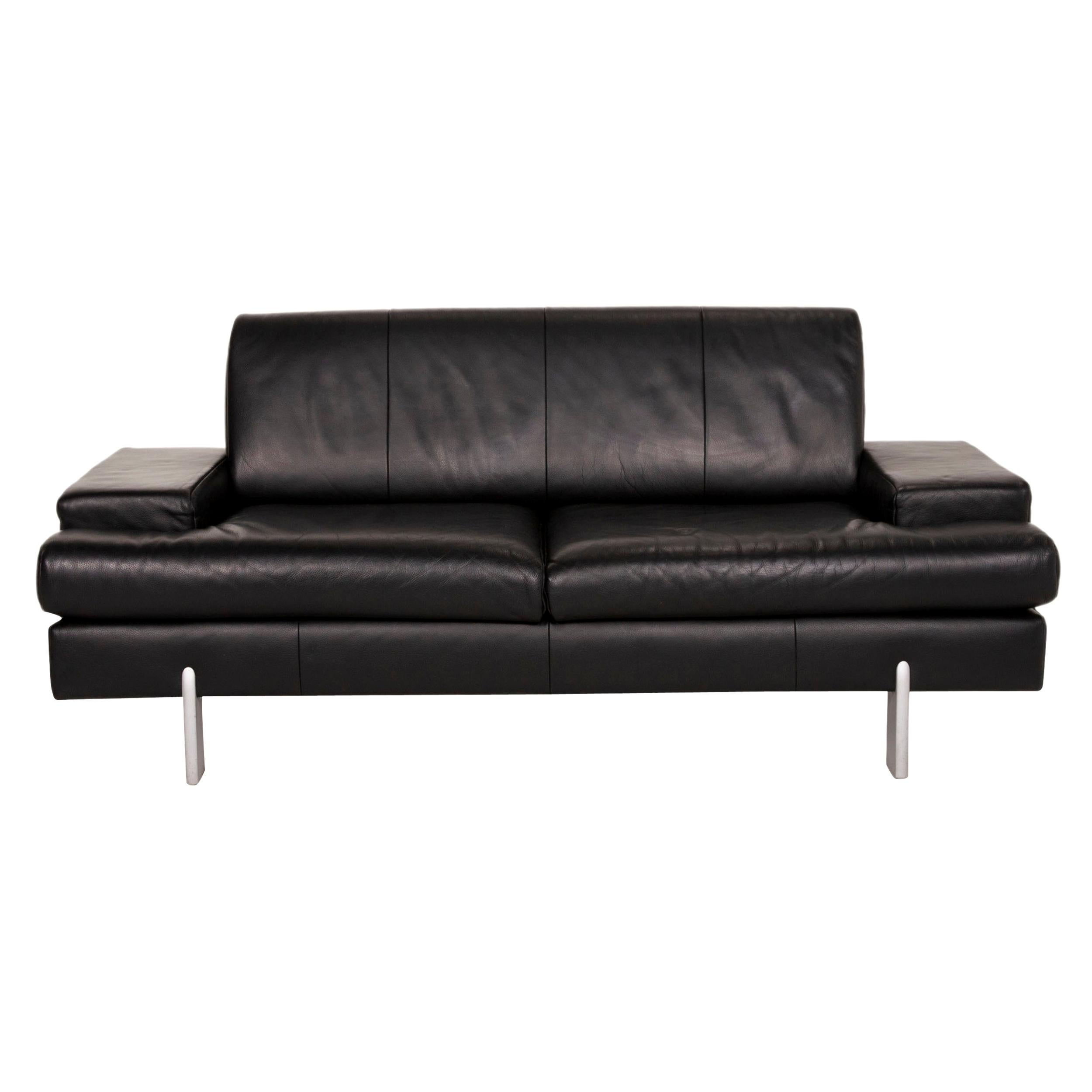Rolf Benz Ak 644 Leather Sofa Black Two-Seater Couch
