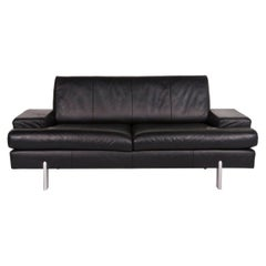 Rolf Benz AK 644 Leather Sofa Black Two-Seat