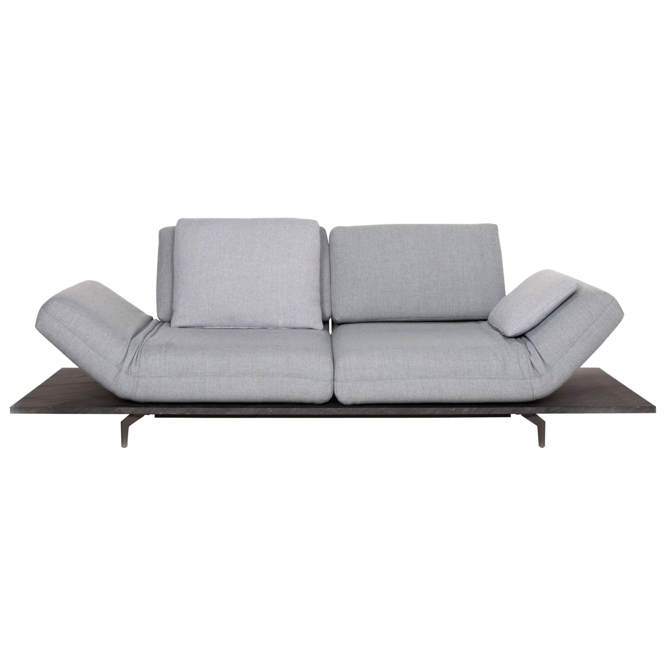 Rolf Benz Aura Fabric Sofa Blue Gray Two-Seater Function Couch