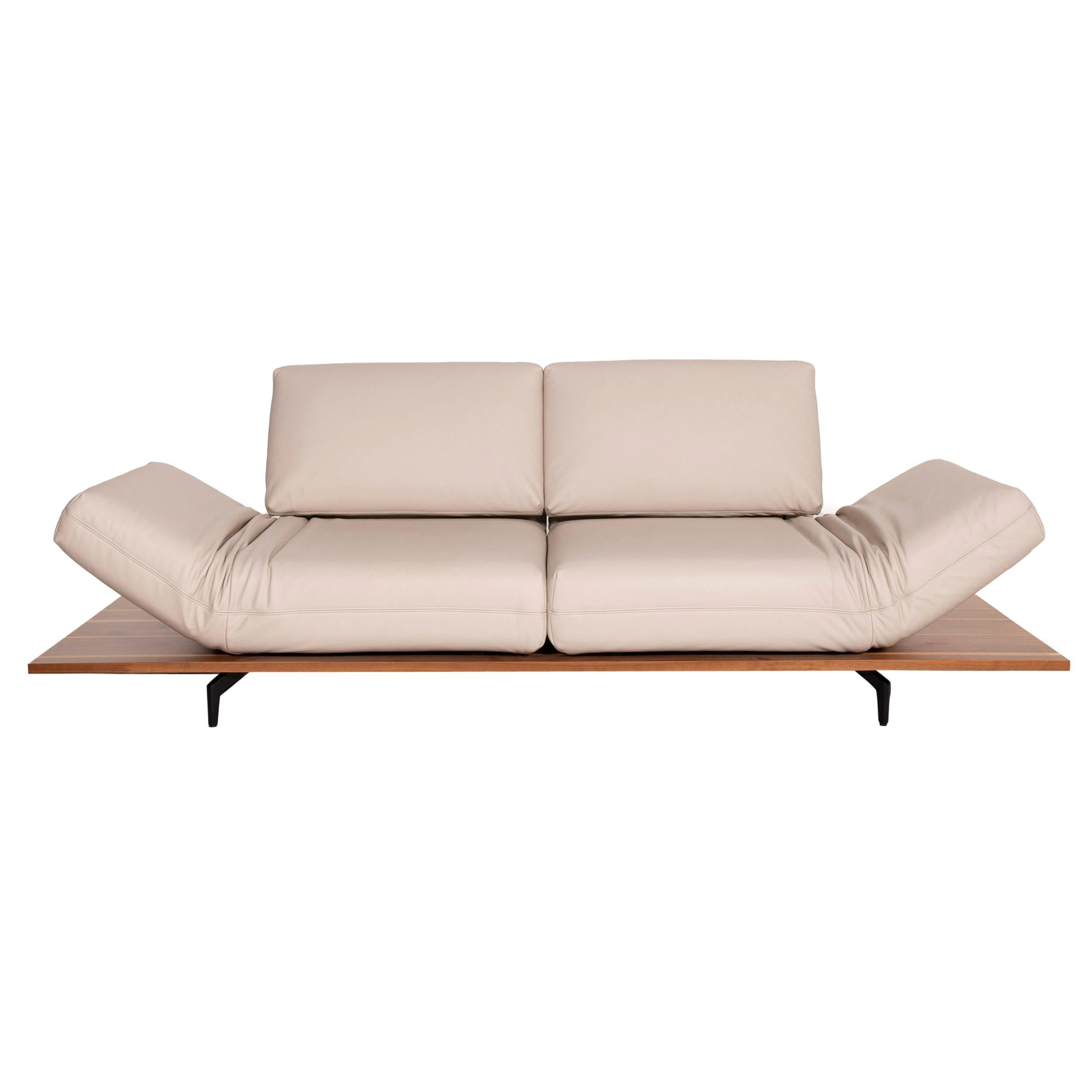 Rolf Benz Aura Leather Sofa Cream Two-Seater Function, Reclining Function, Wood