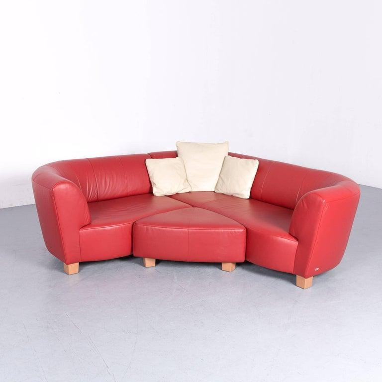 Rolf Benz Basix Designer Corner Sofa Set Red Leather Couch Modern