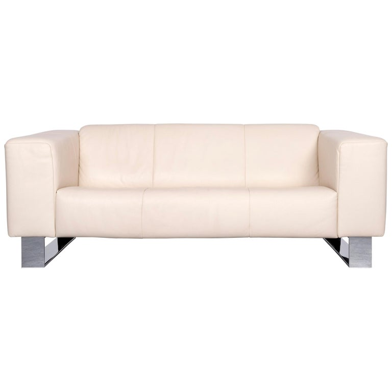 Rolf Benz Basix Designer Leather Sofa Creme Three Seat Couch At 1stdibs