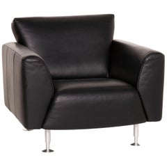 Rolf Benz Black Leather Armchair