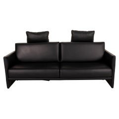 Rolf Benz Cara Leather Sofa Black Three-Seater Function Couch