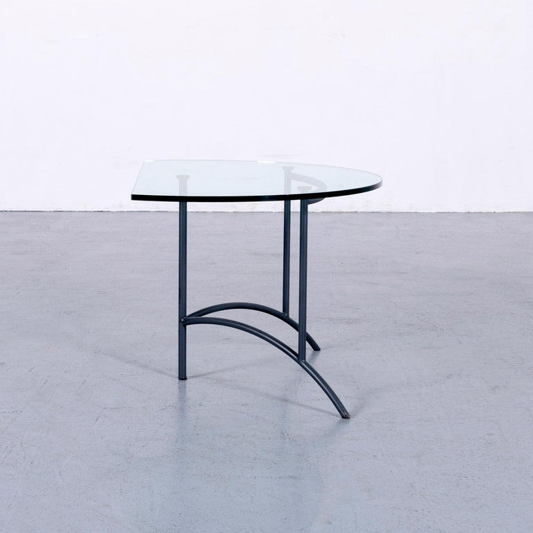 Rolf Benz Couchtisch Runder Couch Sofatisch Glas Metall Grau Silber