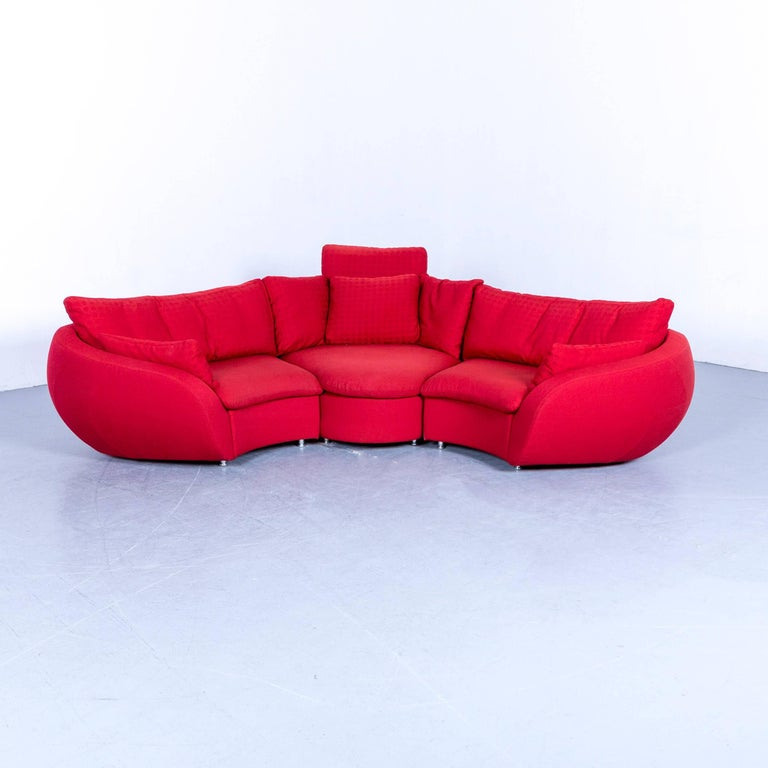 Rolf Benz Designer Corner Sofa Fabric Red Couch Modern At