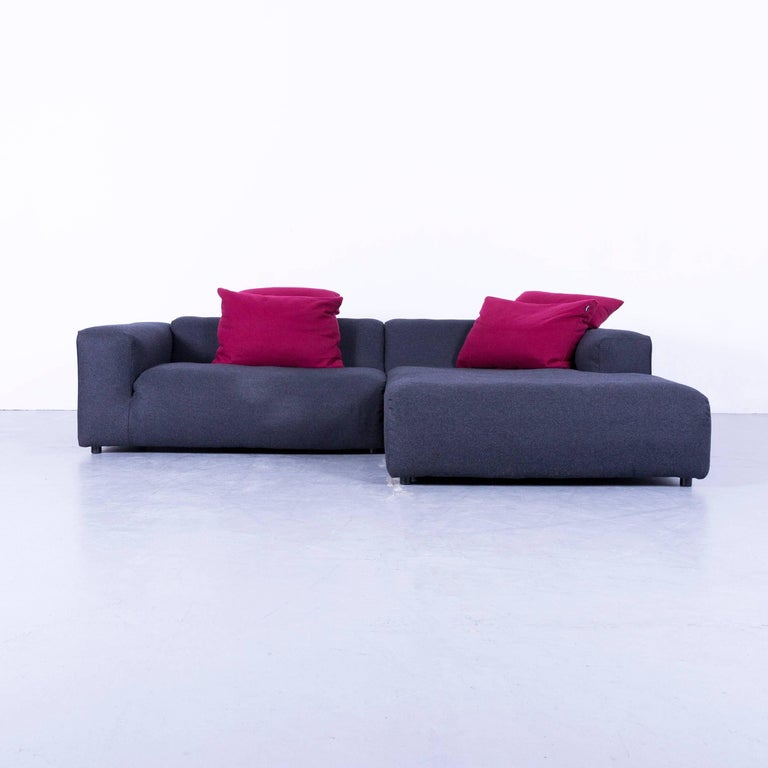 Rolf Benz Designer Corner Sofa Set Footrest Fabric Grey
