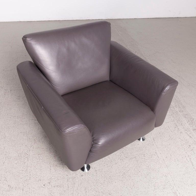 Rolf Benz Designer Leather Armchair Brown Genuine Leather ...