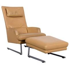 Rolf Benz Designer Leather Armchair Foot-Stool Set Beige One-Seat Bench