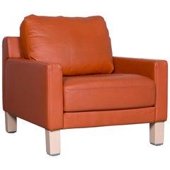 Rolf Benz Designer Leather Armchair Orange One-Seat