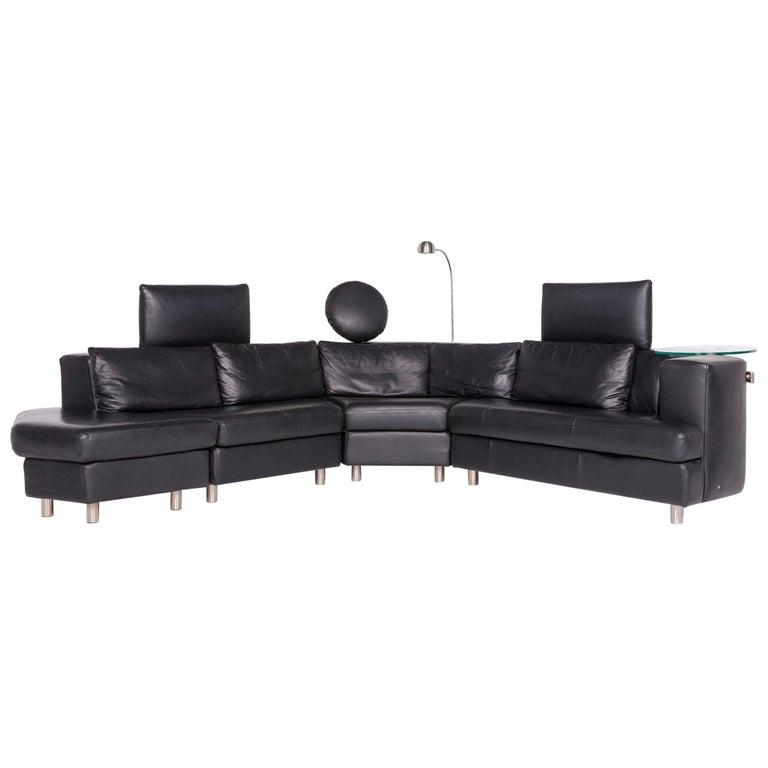 Rolf Benz Designer Leather Corner Sofa Black Genuine Leather Sofa Couch