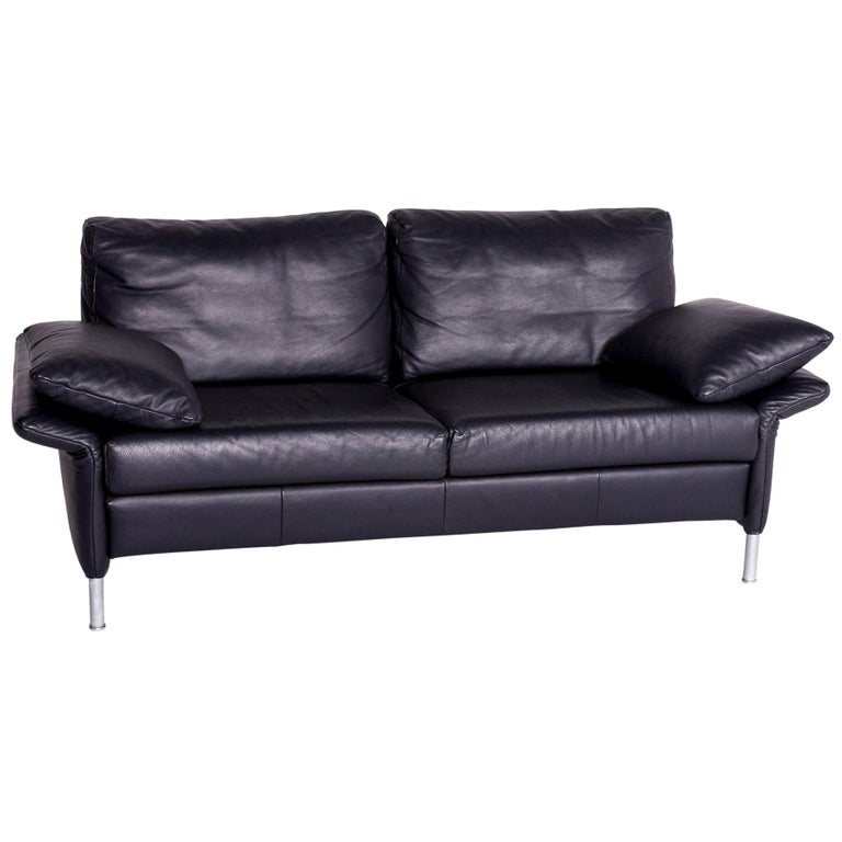 Rolf Benz Designer Leather Sofa Blue Two-Seat Couch