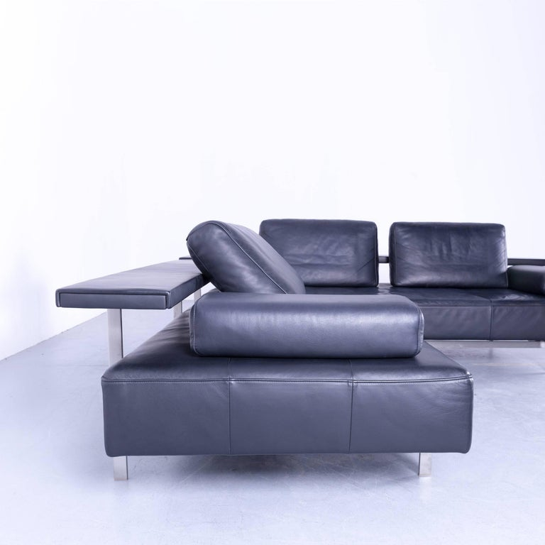 Rolf Benz Dono Designer Corner Sofa Dark Blue Leather