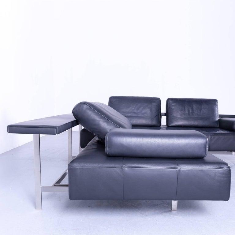 German Rolf Benz Dono Designer Corner Sofa Dark Blue Leather Couch Modern For