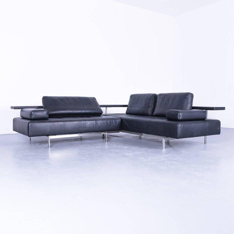 Rolf Benz Dono Designer Corner Sofa With Footstool In Dark Blue Leather Couch Modern
