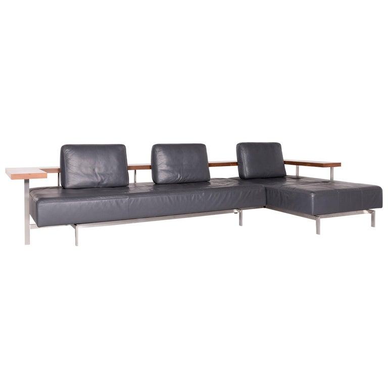 Rolf Benz Dono Designer Leather Corner Sofa Gray Genuine Leather Sofa Couch