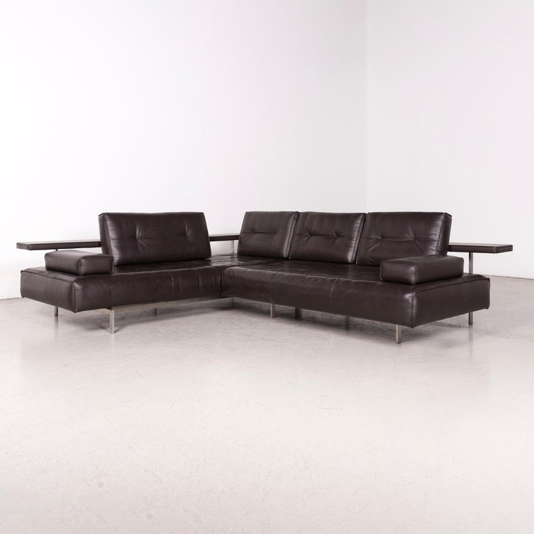 Rolf Benz Dono Designer Leather Sofa Brown Corner Sofa Genuine Leather