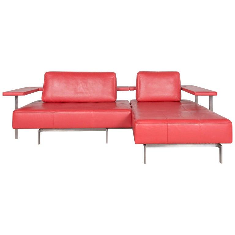 Rolf Benz Dono Designer Leather Sofa Red Corner Sofa Genuine Leather