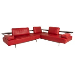 Rolf Benz Dono Leather Corner Sofa Red Couch Sofa