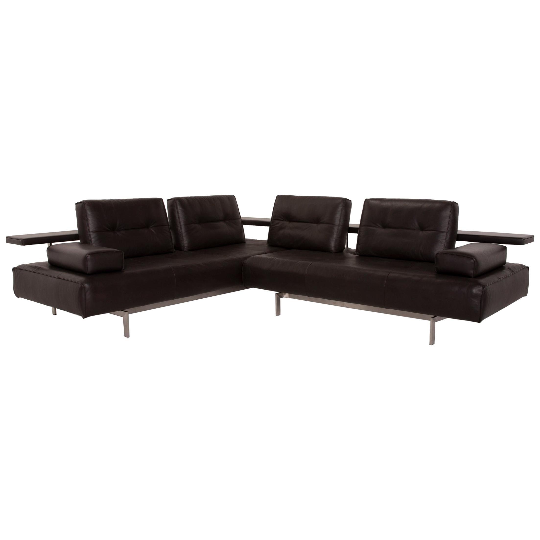 Rolf Benz Dono Leather Sofa Brown Corner Sofa Function Dark Brown