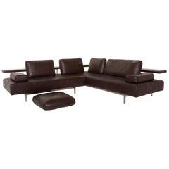 Rolf Benz Dono Leather Sofa Dark Brown Corner Sofa Function