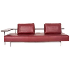 Rolf Benz Dono Leather Sofa Red Three-Seat Couch