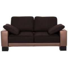 Rolf Benz Ego Leather Fabric Sofa Brown Dark Brown Two-Seat Function Couch