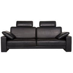 Rolf Benz Ego Leather Sofa Black Two-Seat Couch