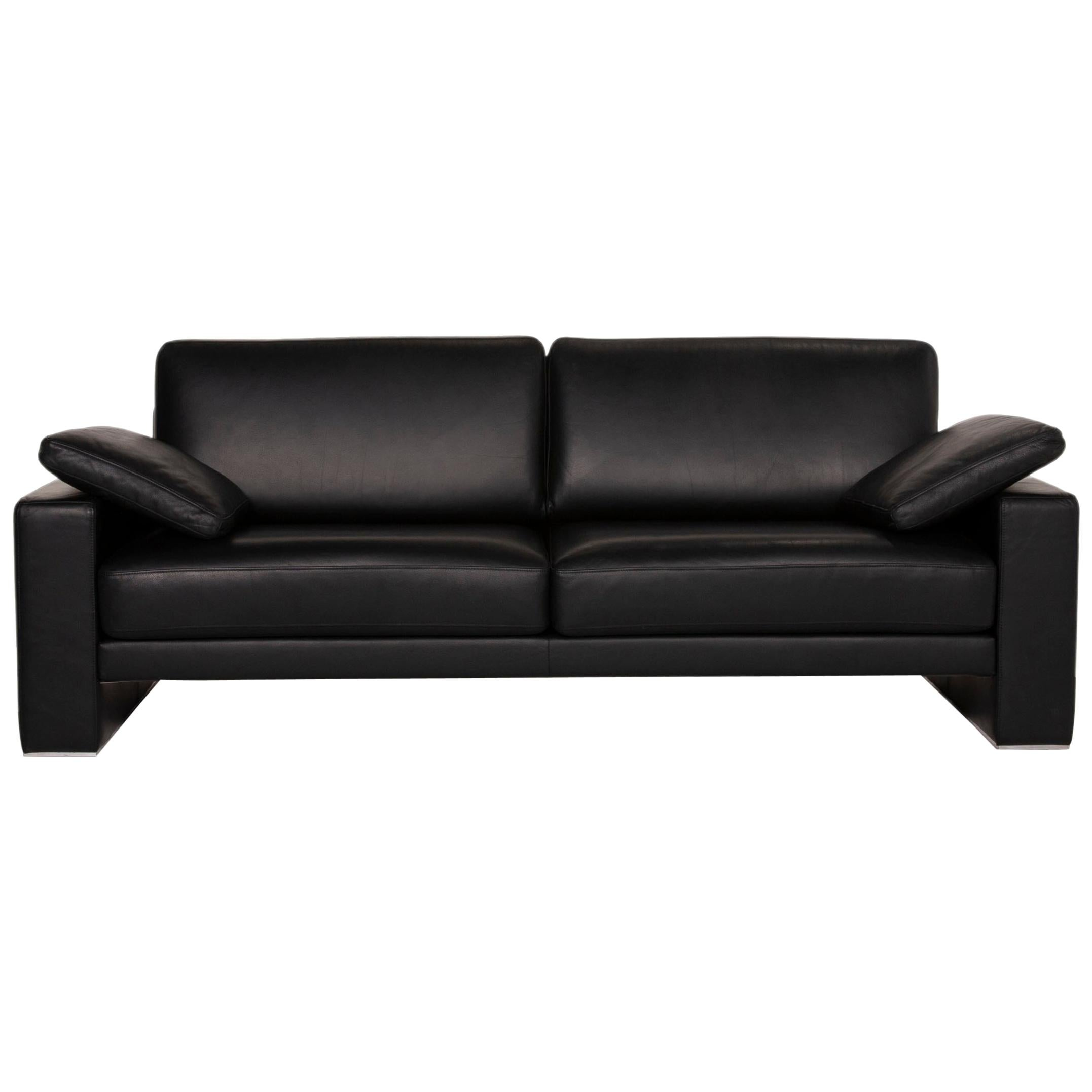 Rolf Benz Ego Leather Sofa Black Two-Seater