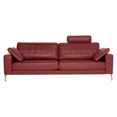 Rolf Benz Ego Leather Sofa Red Wine Red Four-Seater Couch